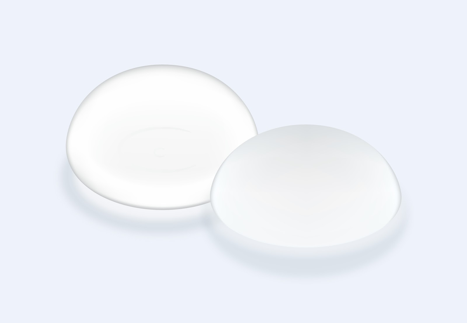 Drawing of two breast implants side by side on a blue-gray background.